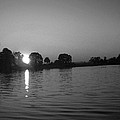 Black And White Of Sunset On Walter Wirth Lake by Linda Hutchins