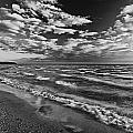 Black And White Shoreline Of Lake by Mike Grandmailson