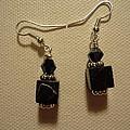 Black Cube Drop Earrings by Jenna Green