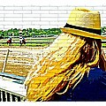 Blonde At Racetrack by Alice Gipson