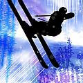 Blue And White Splashes With Ski Jump by Elaine Plesser