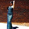 Blue Beaded Dress by Zachary Ward