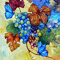 Blue Butterflies And Grapevine  by Peggy Wilson