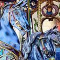Blue Carousel Merry Go Round Horses by Terry Fleckney