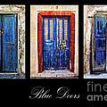 Blue Doors Of Santorini by Meirion Matthias