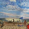 Blue Flag And Red Sun Shade by Andrew Macara