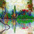 Blue Heron In My Mexican Garden by John  Kolenberg