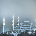 Blue Mosque In Blue Mist by Michele Burgess