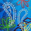 Blue Paisley Garden by Linda Woods