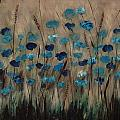 Blue Poppies And Gold Wheat by Julie Cranfill