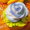 Blue Rose Cup Cake by Garry Gay