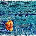 Blue Rusted Steel Painted Background by Rudy Umans
