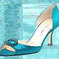 Blue Satin Ball Gown Pump by Elaine Plesser