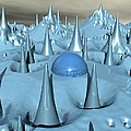 Blue Spikes Alien Terrain by Phil Perkins