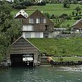 Boat House On A Mountain Slope On The Shore Of Lake Lucerne In Switzerland by Ashish Agarwal
