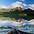 Boats At Pyramid Lake by Ginevre Smith