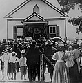 Booker T. Washington Addressing Crowd by Everett