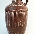 Bottle Of Deep Red Clay With White Slip Decoration And A Handle by Carolyn Coffey Wallace