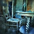 Bottle On Table In Abandoned House by Jill Battaglia