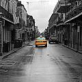 Bourbon Street Taxi Cab French Quarter New Orleans Color Splash Black And White by Shawn O'Brien