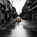 Bourbon Street Taxi French Quarter New Orleans Color Splash Black And White Fresco Digital Art by Shawn O'Brien