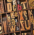 Box Of Old Wooden Type Setting Blocks by Garry Gay