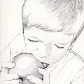 Boy With Apple by Kelly Hazel