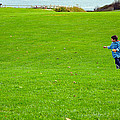 Boy With His Kite Maine by Maureen E Ritter