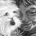 Boy With Pet Dog by Karen Elzinga