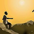Boys Playing On The Rocks by Ian  MacDonald
