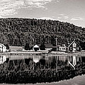 Brant Lake Reflections Black And White by Joshua House
