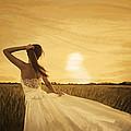 Bride In Yellow Field On Sunset  by Setsiri Silapasuwanchai