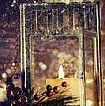 Brightly Lit Lantern In The Snow by Sandra Cunningham