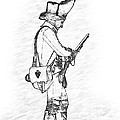 British Soldier With Rifle Sketch by Randy Steele