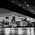 Brooklyn Bridge @ Night Bw8 by Scott Kelley