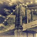 Brooklyn Bridge At Night - Blue Daguerreotype by Alex AG