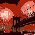 Brooklyn Bridge Fireworks Color 6 by Scott Kelley