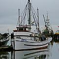 Brown And White Fish Boat by Randy Harris