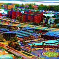 Buffalo New York Aerial View Neon Effect by Rose Santuci-Sofranko