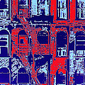 Building Facade In Blue And Red by Rich Walter