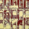 Building Facade Line Art by Rich Walter