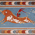 Bull-leaping Fresco From Minoan Culture by Photo Researchers