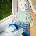 Bunny On Window Ledge by Sarah Howland-Ludwig