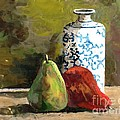 Burnished Pears With Vase by Ruth Stromswold