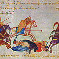 Byzantines Cavalrymen Pursuing The Rus by Photo Researchers