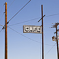 Cafe Sign Power And Telephone Cables by Bryan Mullennix