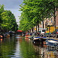 Canal Scene In Amsterdam by Louise Heusinkveld