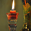 Candle And Colored Glass by Christine Stonebridge