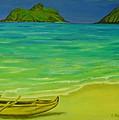 Canoe At Lanikai Beach by Elaine Haakenson