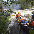 Canoeists Run A Rapid On The Winisk by Skip Brown